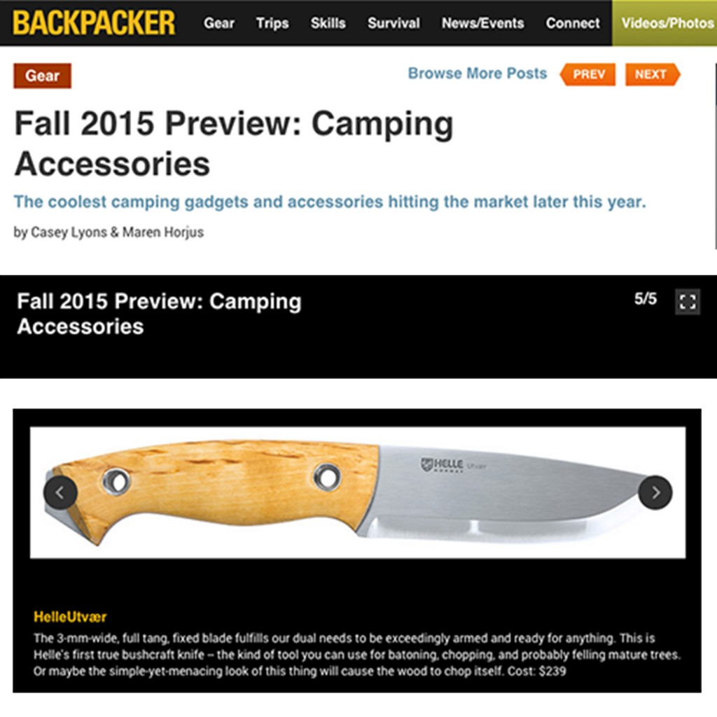 "HelleUtvæl named one of ""The Coolest Camping Gadgets"" by Backpacker"
