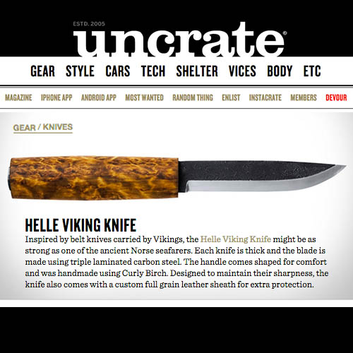 The Helle Viking Knife is Recommended by Uncrate
