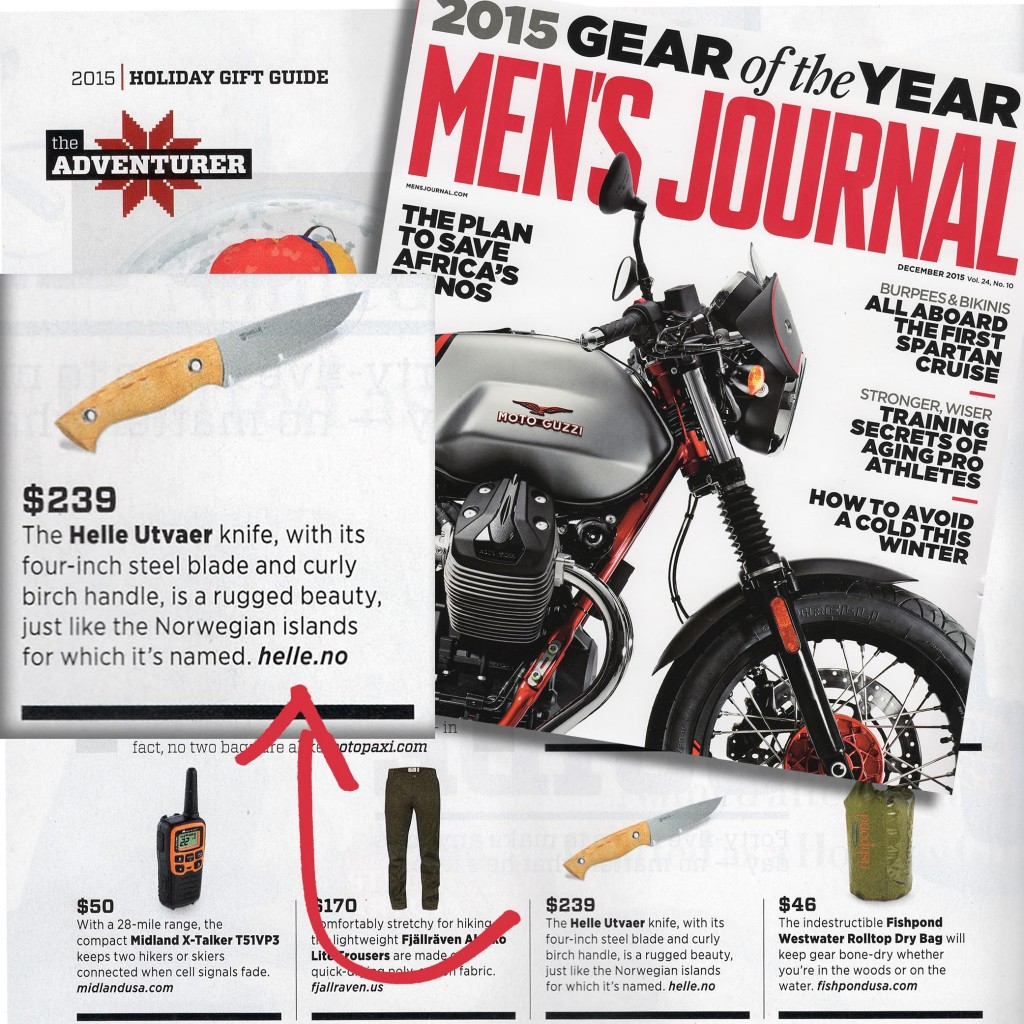 Men's Journal puts Helle's Utvaer knife on the 2015 Gear of the Year list